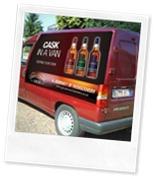 GlenDronach cask in a van