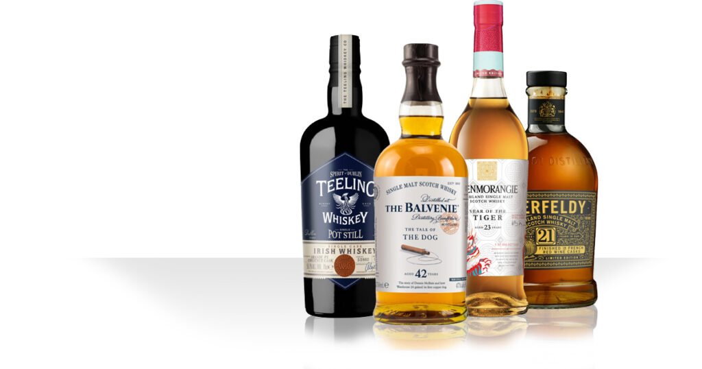 Glenmorangie Year of the Tiger / Balvenie Tale of the Dog / Teeling Brandy chestnut